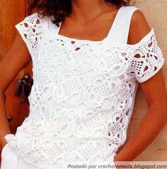 Crochetemoda - white crochet summer top Tutorial ✿⊱╮Teresa Restegui http://www.pinterest.com/teretegui/✿⊱╮