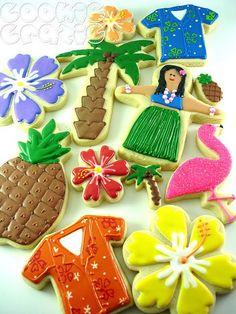 Hawaiian, Luau Decorated Cookies