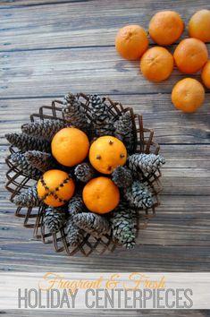 Holiday Centerpiece - Mandarins, Cloves & Pinecones #Christmas #DIY