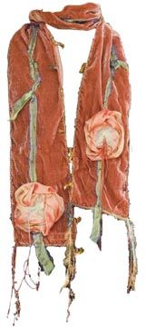 ... Wear Fiber Art Great Scarves Velvet and Silk Scarves with Fabric Roses