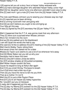 Old time song lyrics with chords for Harper Valley Pta G
