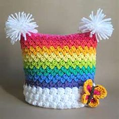 -CROCHET PATTERN - Over the Rainbow - a colorful, striped, square hat ...
