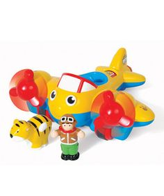 This vibrant plane has rotating propellers, and with the help of a little hand, it can glide and swoop through kitchen tables and banisters. A secret button turns the cargo hold to reveal the contents inside and it doesn't hurt to pipe in with realistic plane engine noises for maximum speed and imaginative play.