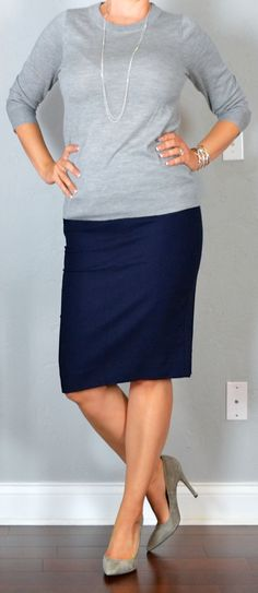 outfit post: grey sweater, navy pencil skirt, grey pumps, silver station necklace | Outfit Posts