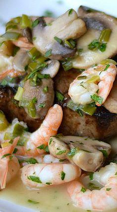 Beef Tenderloin with Shrimp and Mushroom Sauce Recipe