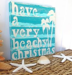 Nautical Christmas Beach Sign - Blue