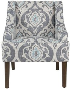 Brown And Grey, Blue And White, Blue Accent Chairs, Wing Chair, Grey Pattern, Upholstered Chairs, Damask, Furniture Decor, Armchair