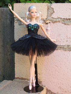 "OOAK ""Odile""  Swan Lake ballet tutu for model muse Barbie"