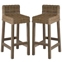 These woven rattan and wood counter stools are sized to fit comfortably next to a kitchen or island countertop. The neutral kubu grey finish highlights the beauty of the rattan and is neutral enough to use with any color scheme. These stools will add warm Bar Stools For Sale, Cool Bar Stools, Bar Stools With Backs, Outdoor Bar Stools, Metal Bar Stools, Modern Bar Stools, Seagrass Bar Stools, Rattan Counter Stools, Swivel Bar Stools