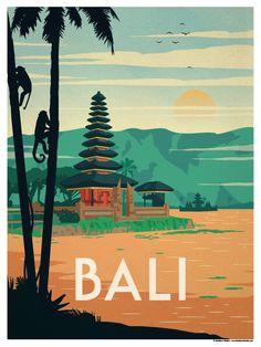 Image of Bali Poster Bali Travel, Vintage Art, Vintage Design Poster, Vintage Travel Postcards, Tourism Poster, Travel Posters, Art Deco Posters, Retro Posters, Bali Indonesia