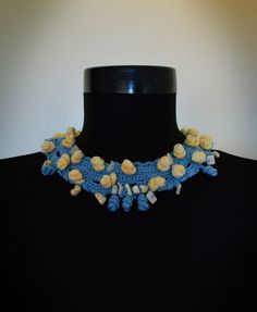 Crochet bibCrochet jewelryKnitted necklaceBlue