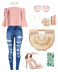 Blush n' Brunch | what to wear to brunch, brunch outfits, how to wear blush by jocelyn-garrity on Polyvore featuring polyvore, fashion, style, Topshop, WithChic, Cult Gaia, ABS by Allen Schwartz, Kenneth Jay Lane, Quay and clothing