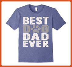 Mens BEST DOG DAD EVER Funny T-Shirt for Birthday Father's Day Small Heather Blue - Relatives and family shirts (*Partner-Link)