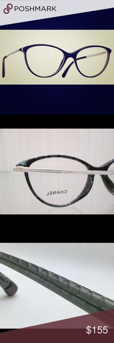 Gently used CHANEL cat eye glasses with crystals Chanel 3293-B, no rx, Swarovski crystals CHANEL Accessories Glasses