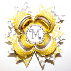 "10% off by liking Lebelle Boutique on Facebook...4"" Personalized Gray Yellow Chevron Polka Dots Stacked Hair Bow. $10.99, via Etsy."