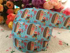 15112856, new arrival 7/8'' 22mm 10 yards hedgehog printed grosgrain ribbons cartoon ribbon hair accessories