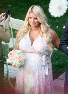 Pin for Later: Can You Spot All the Famous Wedding Guests?  In March 2012, a pregnant Jessica Simpson served as a bridesmaid at Lauren Zelman's wedding to Bret Harrison in Palm Springs, CA.