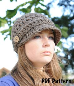 Crochet Hat Pattern, Newsboy Hat Pattern, Brimmed Hat Pattern, One Size Fits Most $5.00