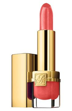 From Shop The Video: Beauty Mark—Hanneli Mustaparta and Lindsey Wixson Test Drive The Orange Lip  Estee Lauder Pure Color Long Lasting Lipstick in Melon, $26