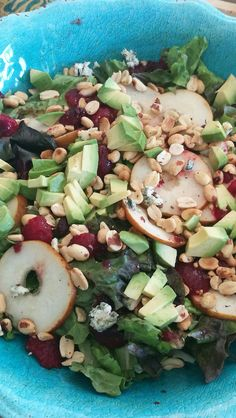 Crispy and sweet salad  Organic greens, prunes, avocado, roasted peanuts, pears and balsamic reduction