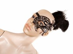 Selfmade filigree mask with feathers.  Available at my stores:  http://www.etsy.com/shop/NinielChan  www.deaddollsshop.de