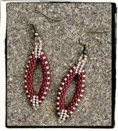 Boutique custom pointed OVAL beaded peyote earrings in BRICK Red and KHAKI from picklesandco. $17.00, via Etsy.