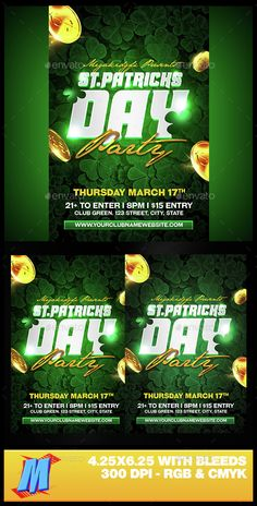 St. Patricks Day Party Flyer Template PSD. Download here: http://graphicriver.net/item/st-patricks-day-party-flyer/15323269?ref=ksioks