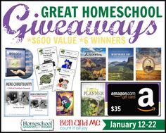 Great Homeschool Giveaways - January Edition - $600 in Prizes - My Joy-Filled Life