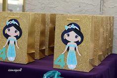 Cute Princess Jasmine birthday party favor bags! See more party planning ideas at CatchMyParty.com!