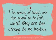 The chains of habit, are too small to be felt, until they are too strong to be broken.  ~so make sure you are making good ones:)