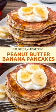 pancake healthy These Peanut Butter Banana Pancakes have a soft amp; fluffy texture, delicious peanut butter banana flavor, and only take 4 ingredients and 10 minutes to make. Pancakes Vegan, Peanut Butter Pancakes, Peanut Butter Banana, Banana Egg Pancakes, Homemade Pancakes, Healthy Banana Pancakes, Low Calorie Pancakes, Flourless Banana Pancakes, Sugar Free Pancakes