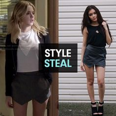 Steal Ashley Benson's style from Pretty Little Liars! // Hey Grey Envelope Skort from ViviannnV's Market Collection #markkit #stylesteal #lookforless #celebstyle #ashleybenson