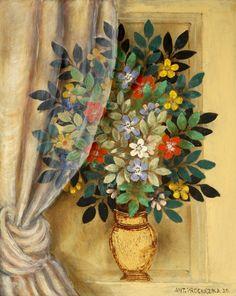 Antonín Procházka: Kytice se záclonou / 1930 / A Bunch of Flowers behind a Curtain Contemporary Decorative Art, Art Deco Paintings, Female Painters, Small Sculptures, Naive Art, Cubism, Anton, Czech Republic, Flower Art