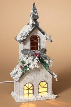 Gerson Company Electric Lighted Wood Steeple Bird House