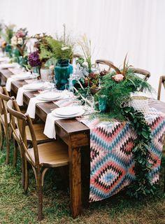 Stunning bohemian tablescape: http://www.stylemepretty.com/little-black-book-blog/2016/03/30/cozy-rustic-wedding-complete-with-giant-dream-catchers/ | Photography: Graham Terhune - http://www.grahamterhune.com/