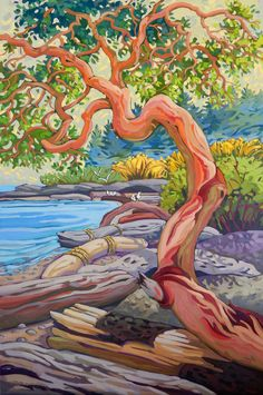 Greta Guzek | Ian Tan Art Gallery Vancouver Beach Illustration, Landscape Illustration, Abstract Landscape, Landscape Paintings, Landscapes, Winter Painting, Beach Artwork, Canadian Art, Cool Paintings