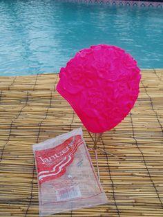 Vintage rubber swim cap  Hot Pink Roses  by LuLusVintageMart, $60.00