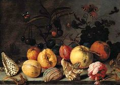 Fruit and shells, with butterflies, a dragonfly, a lizard, a snail and a fly on a stone ledge BALTHASAR VAN DER AST