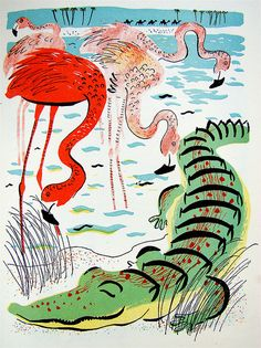 flamingo & crocodile - illustrator roger duvoisin - 1944 edition of 'a child's garden of verse' by robert louis stevenson.