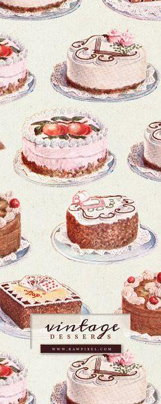 Sweet Desserts, Dessert Recipes, Principles Of Art, Renaissance Art, Food Illustrations, Illuminated Manuscript, Art Oil, Vintage Designs, Creative Design