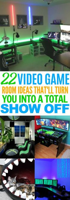 These 22 Video Game Room Ideas Are TOTALLY EPIC. I love how you don't have the compromise style for a cool gaming room! Definitely re-pinning! #homehacks #diy #videogames #gamingroom #DecoratingaGameRoomfun