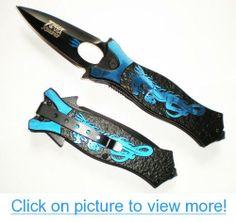BLUE Tac Dragon Assisted Opening Tactical Pocket Knife + Glass Breaker