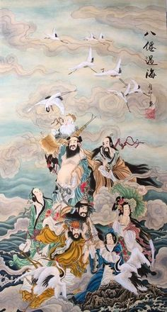 Original Asian Art Chinese Figure Watercolor painting-Eight Immortals Cross sea #Asian