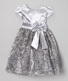 Silver Sequin Bow A-Line