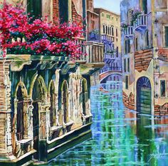 Huge Original Oil Painting Scenic Landscape Art VENICE door rbealart