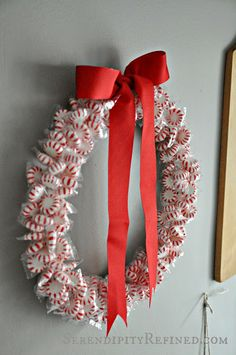 Serendipity Refined: DIY Holiday Peppermint Wreath: Dollar Tree Craft