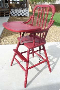 wooden high chairs r coming back but they r so expensive!!! it would be cool to find an old one like this and paint it!