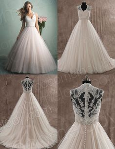 Classic A-Line V-Neck Court Train Tulle and Lace Ivory/Veiled Rose Sleeveless Wedding Dress With Appliques Beading and Sashes Wedding Dress Buttons, Wedding Dress Sash, Dream Wedding Dresses, Wedding Attire, Wedding Gowns, Dress Vestidos, Wedding Wishes, Mode Style, Dream Dress