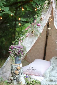 Glamping anyone? I love all things romantic and French country and camping outsi. Glamping anyone? French Country Cottage, Nantucket Cottage, Country Charm, Country Living, Backyard Camping, Backyard Ideas, Outdoor Living Rooms, Outdoor Spaces, Home Design Decor