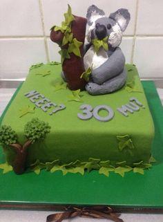 #koala #birthday #cake #tree #green Favors, Birthday Cake, Cakes, Animal, Green, Desserts, Food, Tailgate Desserts, Presents